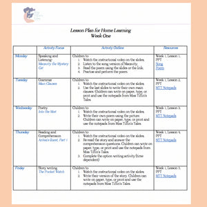 Home Learning- Week One