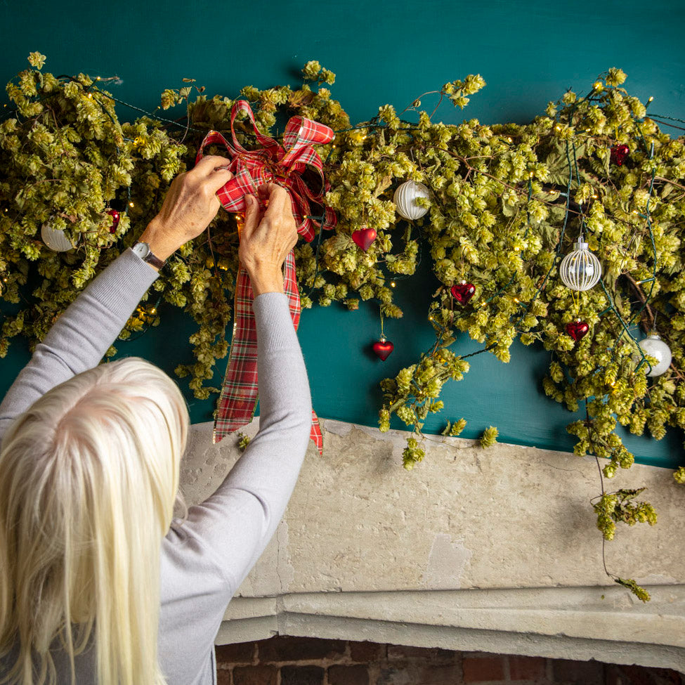How to decorate a Hop Bine for Christmas