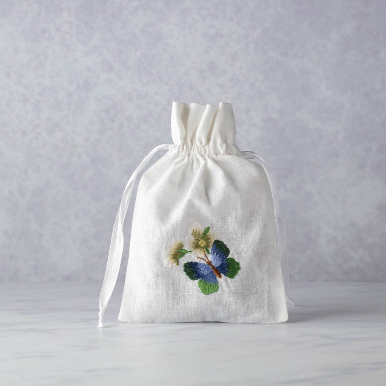Lavandin Embroidered Cotton Sachet