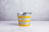 TIN FLOWER POT WITH YELLOW STRIPES