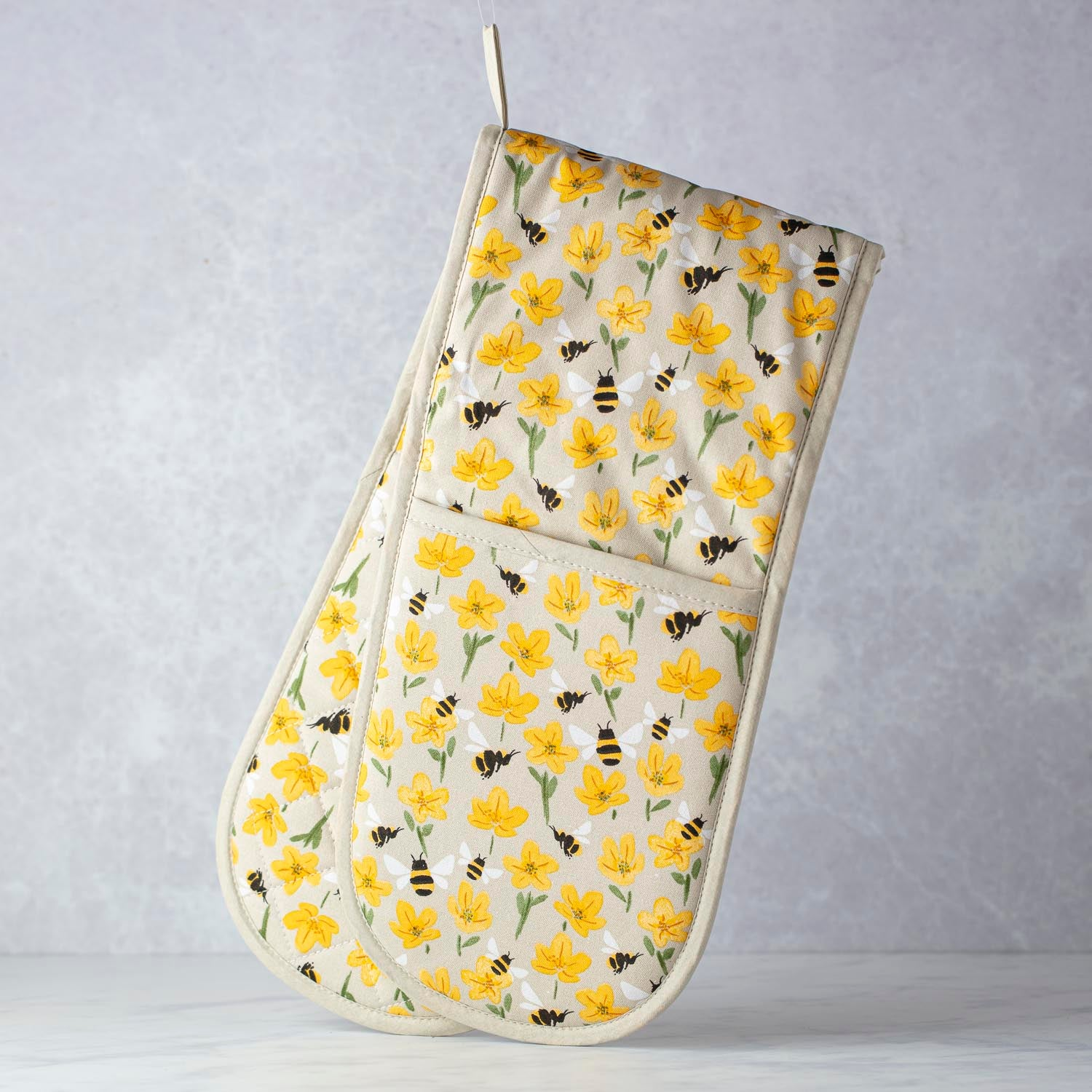 Fabric Double Oven Mitt with Buttercups & Bees