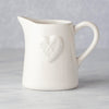White Ceramic Heart Embossed Milk Jug, Sml