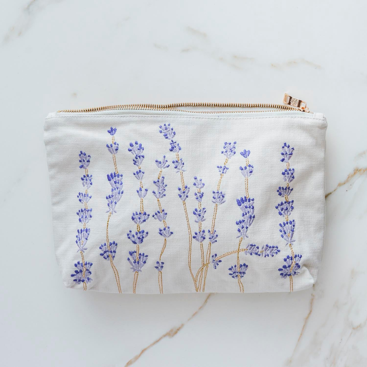LARGE LAVENDER EMBROIDERED BAG