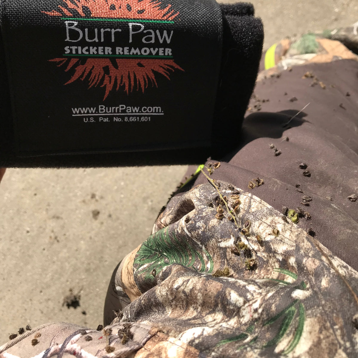 The Burr Paw removes stickers and burrs from pets, gear and clothing.
