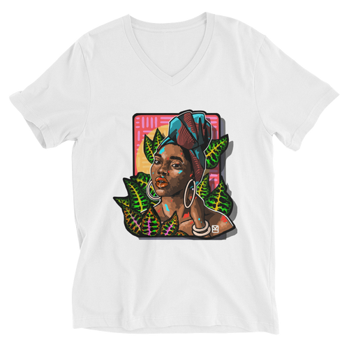 Among the leaves - Unisex Short Sleeve V-Neck T-Shirt - AllArtApparel