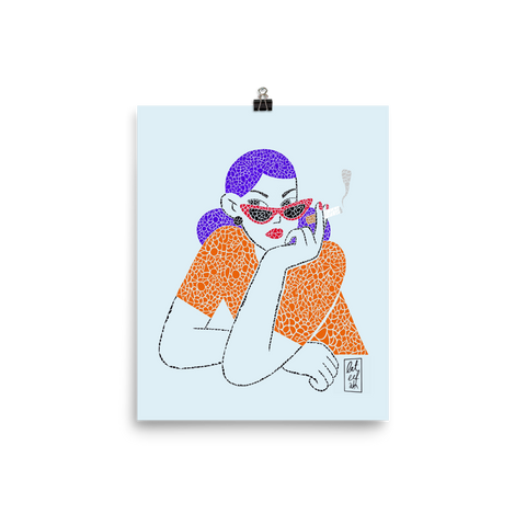 Girl With The Cigar Premium Print - AllArtApparel