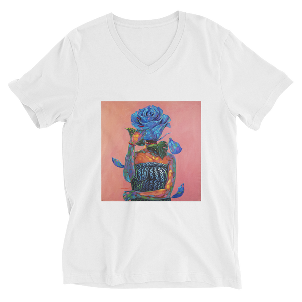 Lady Blue - Unisex Short Sleeve V-Neck T-Shirt - AllArtApparel