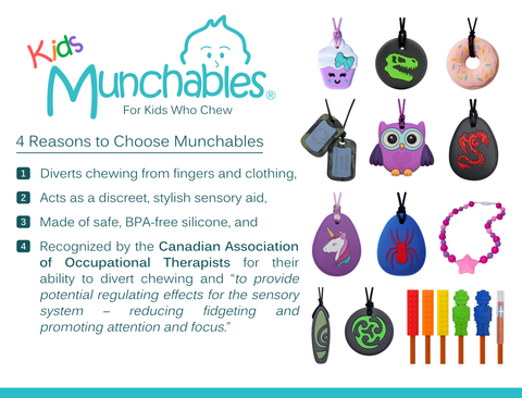 Munchables sensory chews are the solution for kids who chew their fingers, clothing, hair and more!