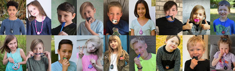 Munchables Sensory Chew Necklaces Worn by Children