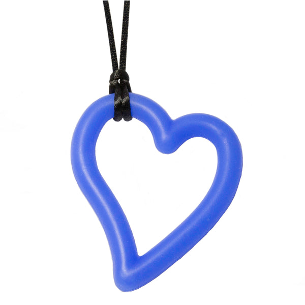 Munchables Heart Chew Necklace in blue strung on black cord.
