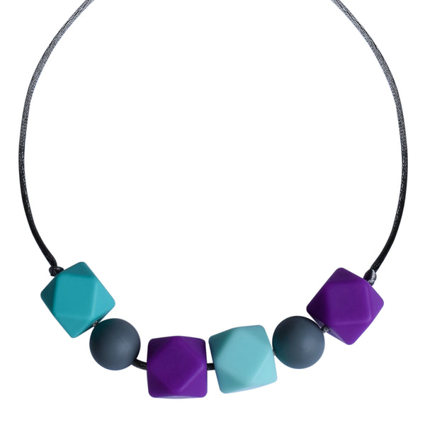Aqua/Purple Geo Chew Necklace