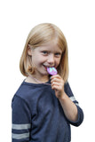 Girl chewing on Munchables Butterfly Chewelry Sensory Necklace.