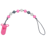 Glow-in-the-Dark Pacifier Clip - Pink/Grey
