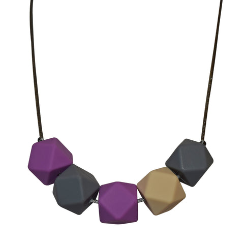 Clearance - Geo Necklace (Purple/Beige/Grey)