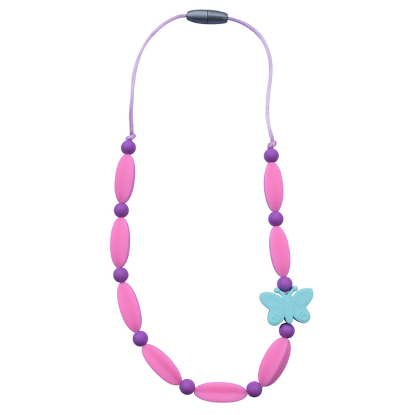The Munchables Butterfly Beaded Chew Necklace features three different types of beads to chew on for increased interest.