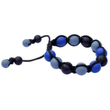 Munchables Adjustable Chew Bracelet features black, navy and gray silicone beads strung on a black nylon cord.