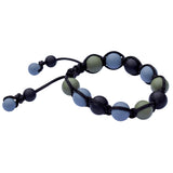 Munchables Adjustable Chew Bracelet features black, dark green and gray silicone beads strung on a black nylon cord.