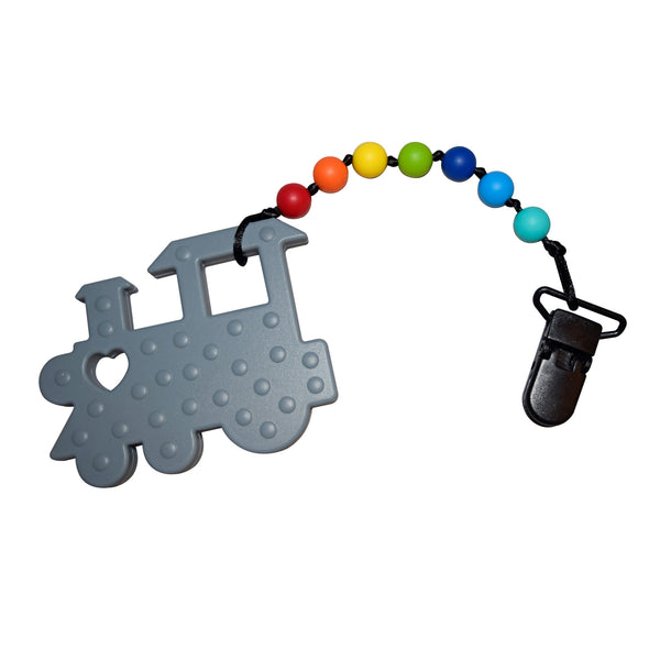 Munchables Gray Train Baby Teether with Rainbow Beads