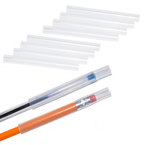 Munchables clear chewable pencil topper tubes shown in set of 10.