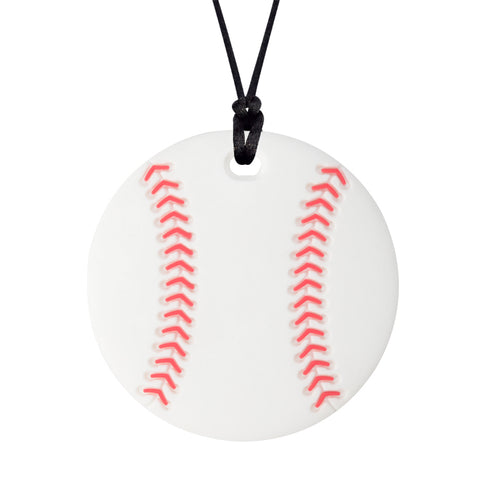 The Munchables Baseball Chew Necklace is a white ball with two rows of red lacing strung on a black cord.