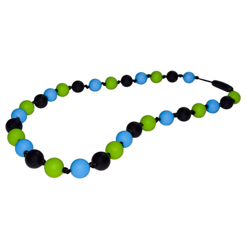 This Munchables Beaded Chew Necklace features black, green and blue round beads strung on a black nylon cord with knots in between each bead.