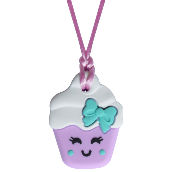 Munchables Cupcake Chew Necklace in Purple with White Icing