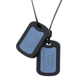 Munchables Chewable Military Dog Tags feature an inset gray area and a black border.