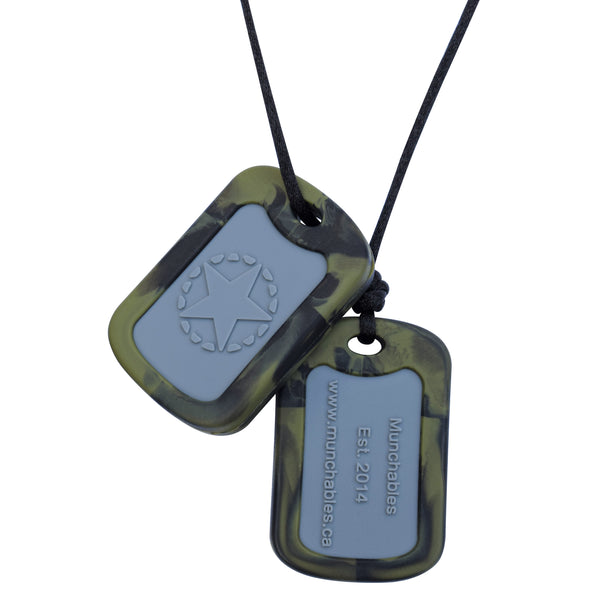 Munchables Chewable Military Dog Tags feature an inset gray area and a camo green border.