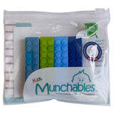 Munchables Set of 4 LEGO-like Chewable Pencil Toppers in reuseable package.