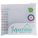 Munchables clear chewable pencil topper tubes in their reusable package.