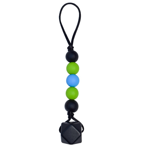 Munchables Chewable Zipper Pull in Black, Green and Blue.