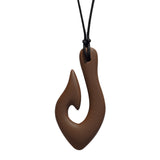 Munchables Brown Fish Hook Chew Necklace on Black Cord.