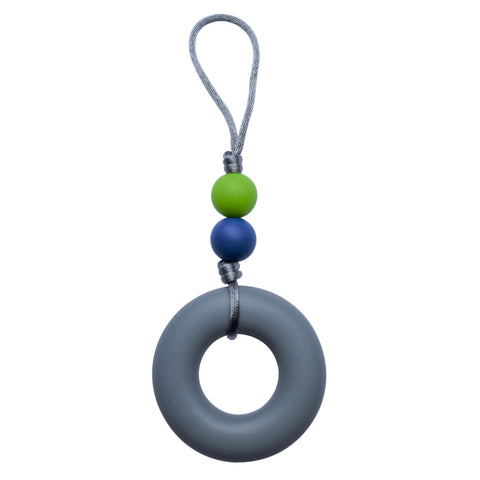 This Munchables Chewy Zipper Pull features a large gray donut bead and 2 smaller beads strung on a grey cord.