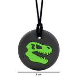 "Munchables Dino Skull Chew Necklace with Diameter Measurements of 2"" or 5cm."