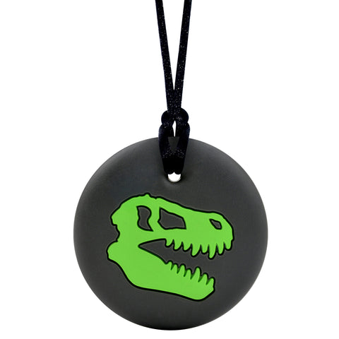 Munchables Dino Skull Chew Necklace in Black and Green