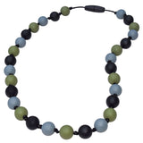 Munchables Camo Sensory Chew Necklaces feature smooth, round silicone beads in black, grey and green strung on a nylon cord with knots between each bead.
