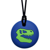 Munchables Dino Skull Chew Necklace in Navy and Green