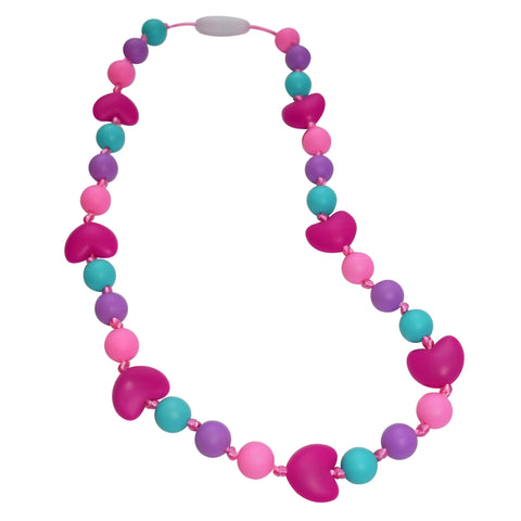 Munchables Chew Necklace with aqua, purple, pink round beads and fuchsia hearts.