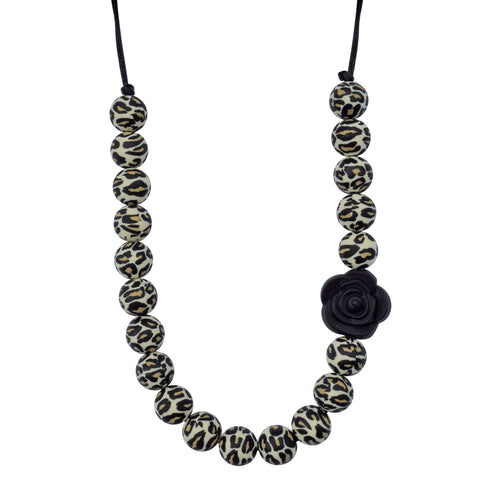 Munchables Leopard Chew Necklace with Black Flower Strung on Black Cord