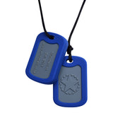Munchables Chewable Military Dog Tags feature an inset gray area and a navy blue border.