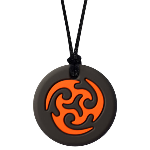 Munchables Orange Black Ninja Star Sensory Chew Necklace Strung on a Black Cord.