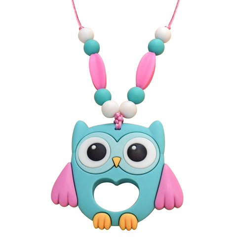 Munchables Pink Owl Chew Necklaces features 5 chewy beads on each arm of the necklace for a variety of chewing surfaces.