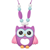 Munchables Purple Owl Chew Necklaces features 5 chewy beads on each arm of the necklace for a variety of chewing surfaces.