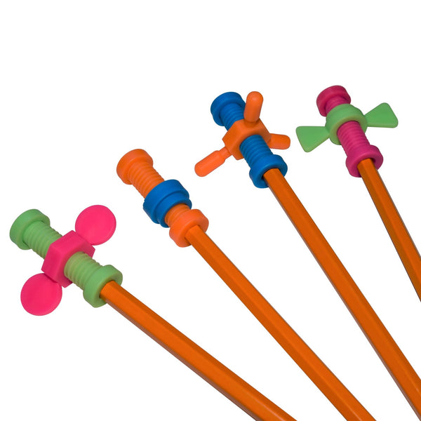 Set of 4 Munchables Toolbox Pencil Toppers pictured on pencils. Spinner Fidget Toys that fit on any standard pen or pencil.