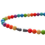 Munchables Rainbow Chew Necklaces feature a gray breakaway clasp.