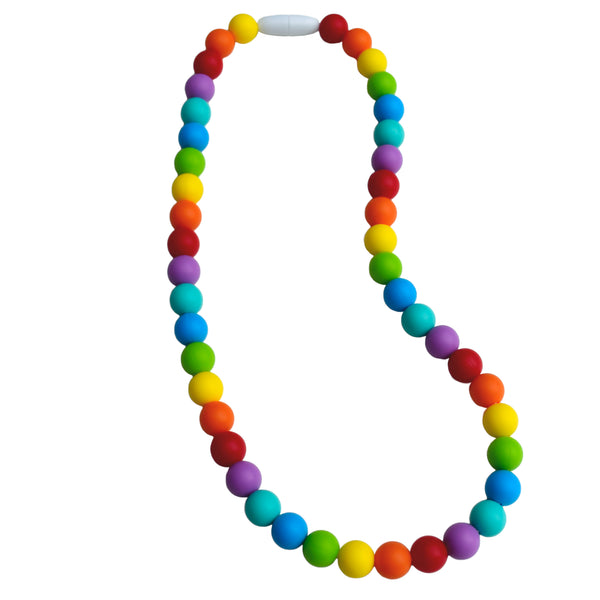 Munchables Rainbow Chew Necklaces feature a repeating pattern of 7 rainbow coloured beads.