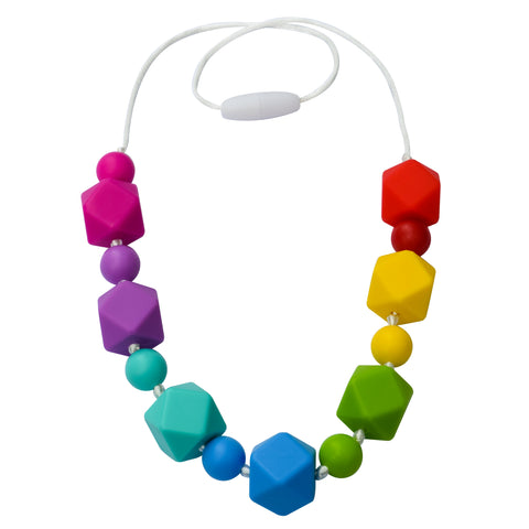 Munchables Rainbow Geo Necklaces features 7 colours of beads strung on a white cord with knots between beads.