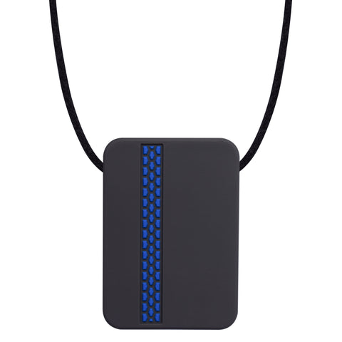 The Munchables Rectangle Adult Chew Necklace is a discreet black rectangle with slightly rounded edges and a coloured tire track design on the front side. It is strung on a black cord.