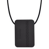 The Munchables Rectangle Adult Chew Necklace is a discreet black rectangle with slightly rounded edges and a raised tire track design on the reverse side.