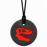Munchables Dino Skull Chew Necklace in Black and Red